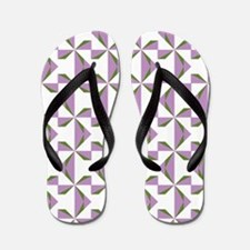 Lilac and Olive Pinwheels Flip Flops