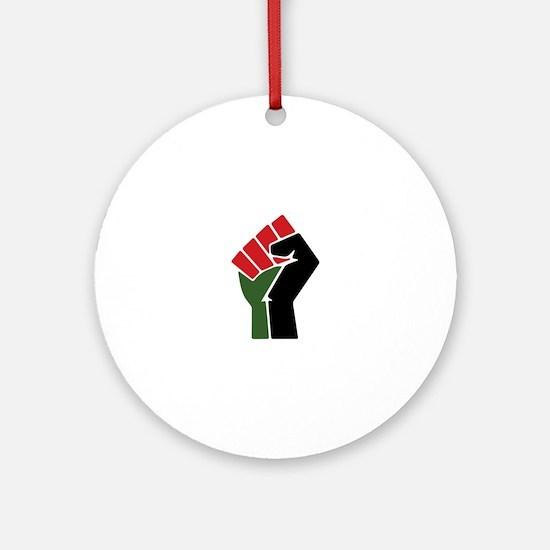 Black Red Green Fist Round Ornament