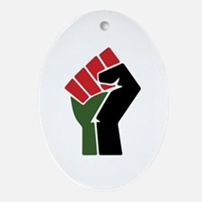 Black Red Green Fist Oval Ornament