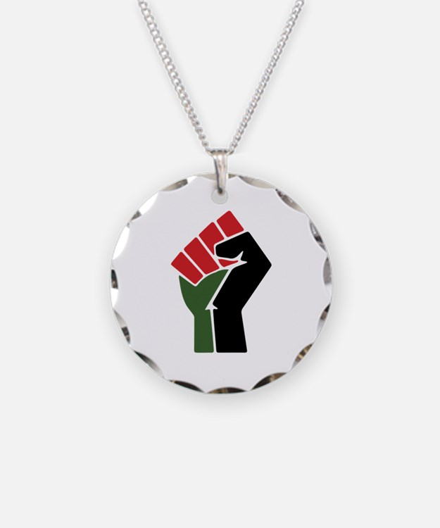 Black power fist necklaces black power fist dog tags for Red black and green jewelry