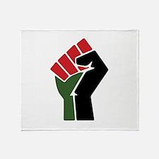 Black Red Green Fist Throw Blanket