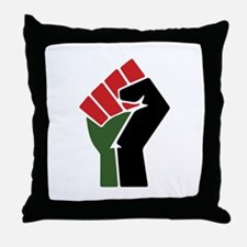 Black Red Green Fist Throw Pillow