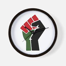 Black Red Green Fist Wall Clock