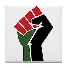 Black Red Green Fist Tile Coaster