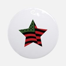 African American Star Round Ornament