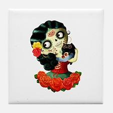Mexican Dia de Los Muertos Girl Tile Coaster