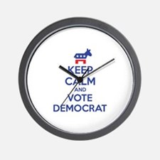 Keep calm and vote democrat Wall Clock