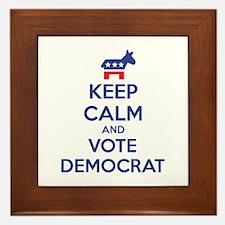 Keep calm and vote democrat Framed Tile