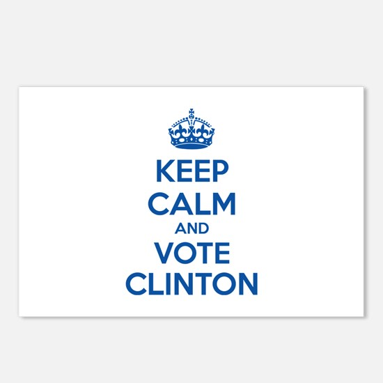Keep calm and vote Clinton Postcards (Package of 8