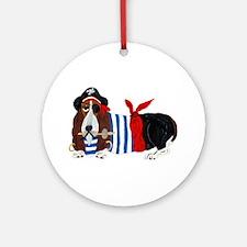 Basset Hound Pirate Round Ornament