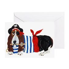 Basset Hound Pirate Greeting Cards