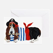 Basset Hound Pirate Greeting Cards