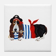 Basset Hound Pirate Tile Coaster