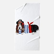 Basset Hound Pirate Beach Towel