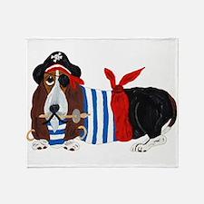 Basset Hound Pirate Throw Blanket