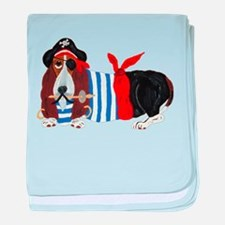 Basset Hound Pirate baby blanket