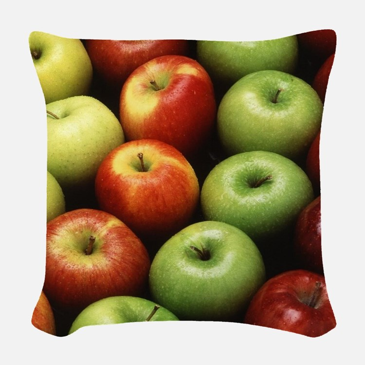 Various Types of Apples Woven Throw Pillow