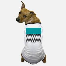 TEAL BLOCK & BLACK chevron Dog T-Shirt