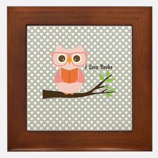 Cute Owl Reading Framed Tile