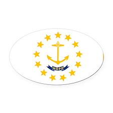 Rhode Island State Flag Oval Car Magnet