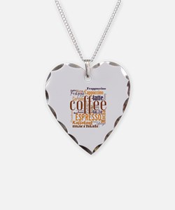 Coffee word cloud collage Necklace