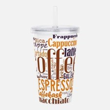 Coffee word cloud coll Acrylic Double-wall Tumbler