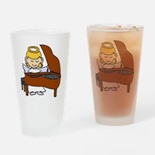 Girl Angel Playing Piano Drinking Glass