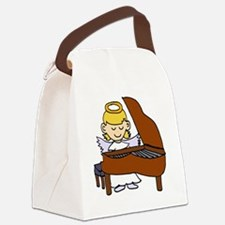 Girl Angel Playing Piano Canvas Lunch Bag