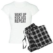 Wake Up Kick Ass Repeat Pajamas