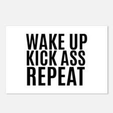 Wake Up Kick Ass Repeat Postcards (Package of 8)