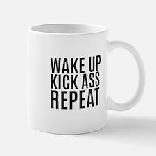 Wake Up Kick Ass Repeat Mugs