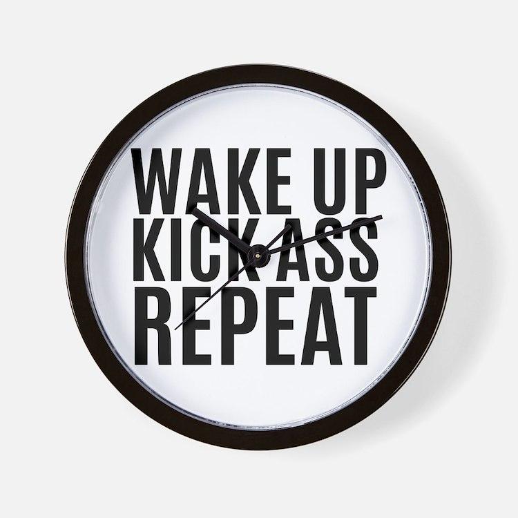 Wake Up Kick Ass Repeat Wall Clock