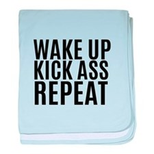 Wake Up Kick Ass Repeat baby blanket