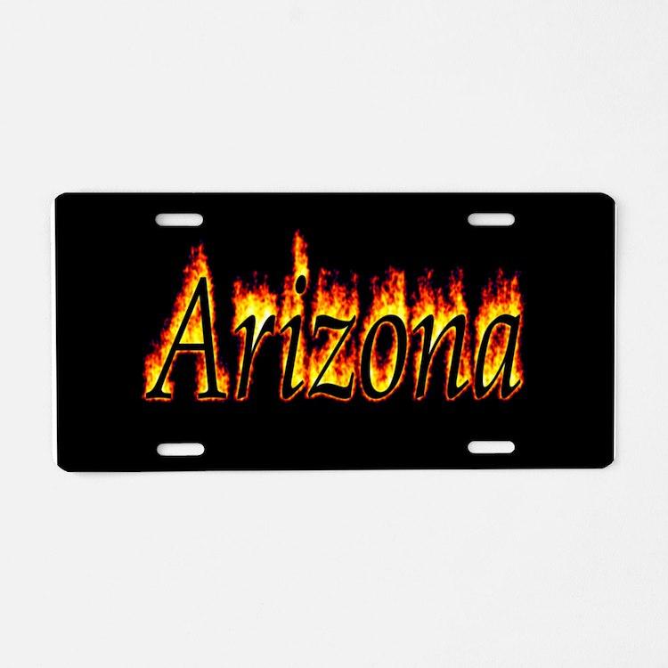 Arizona Flame Aluminum License Plate