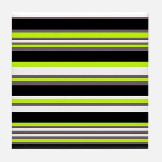Horizontal Stripes Pattern: Chartreus Tile Coaster