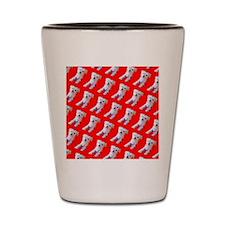 Red Maltese Cutie Fluffy Repetition Jul Shot Glass