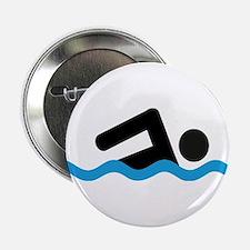 """Cute Swimming 2.25"""" Button"""