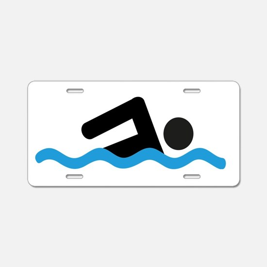 Cute Swimming Aluminum License Plate
