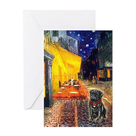 Cafe / Black Pug Greeting Card