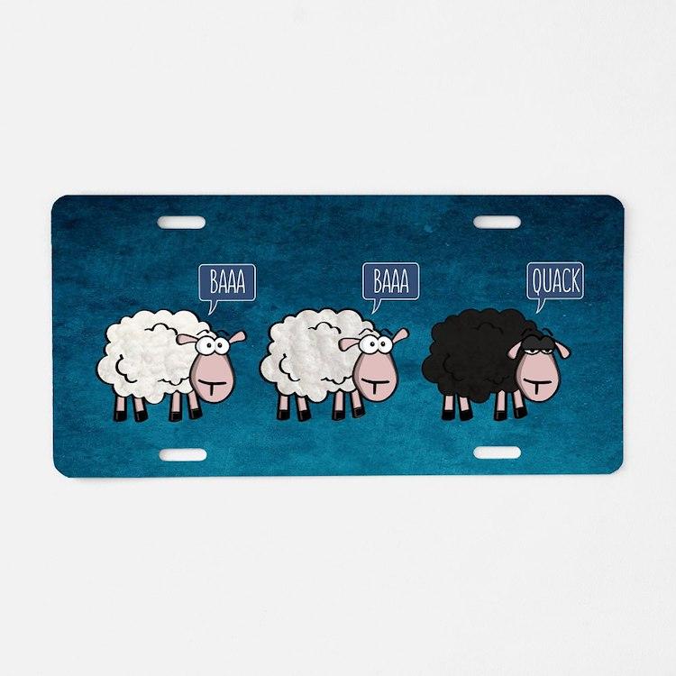 Cute Sheep Aluminum License Plate