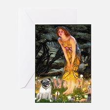 Fairies & Pug Greeting Card
