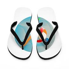 Taekwondo Fighter Kicking Circle Retro Flip Flops