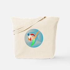 Taekwondo Fighter Kicking Circle Retro Tote Bag