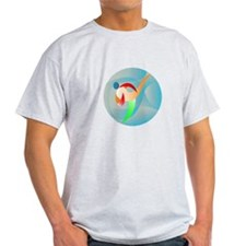 Taekwondo Fighter Kicking Circle Retro T-Shirt