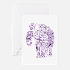 Tangled Purple Elephant Greeting Cards
