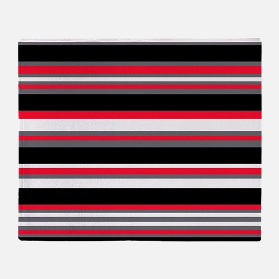 Horizontal Stripes Pattern: Cherry R Throw Blanket