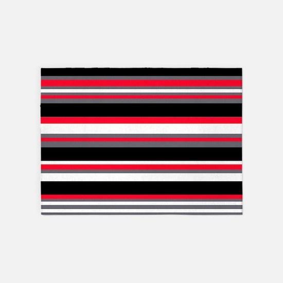 Horizontal Stripes Pattern: Cherry 5'x7'Area Rug
