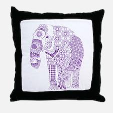 Tangled Purple Elephant Throw Pillow
