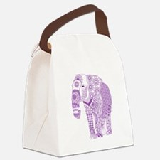 Tangled Purple Elephant Canvas Lunch Bag