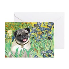 Irises / Pug Greeting Cards (Pk of 20)